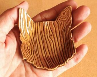 Ceramic CAT Ring Dish - Handmade Amber Porcelain Wood Grain Cat Ring Dish / Tea Bag Holder - Ready To Ship