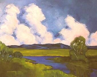 Impressionist Painting CALIFORNIA Plein Air Farm Meadow Stream Field Landscape Art 18 x 24 Lynne French