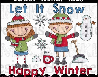 Sweet Winter Kids Clipart Collection- Immediate Download