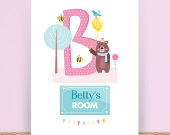 Personalised Illustrated Alphabet - Name - Initial - Child's Room - Name Print - Christening Gift - Present - Nursery Decoration - Digital