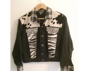 Vintage 90s Plaid Animal Print Black Jean Jacket Size 4