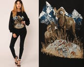 Animal Sweatshirt 80s RAM PRINT Black Jumper Pullover Wildlife Mountain Shirt 1980s Hipster Vintage Slouchy Big Horn Sheep Large