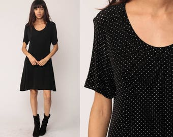 Polka Dot Dress 90s Black and White Shift Grunge Short Sleeve Stretchy Vintage 1990s Simple Preppy Minidress Medium