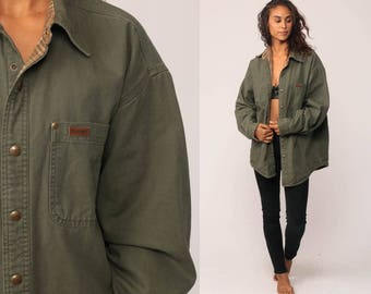 CARHARTT Shirt Long Sleeve Shirt Vintage Workwear Olive Green FLANNEL LINED Heavy Cotton Oxford Button Up Shirt Retro Medium