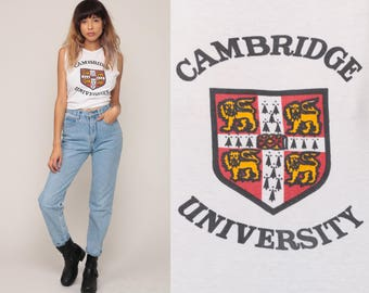 Cambridge University Shirt College Tank Top 80s Muscle Tee Retro Graphic England Shirt Vintage 1980s SmallMedium