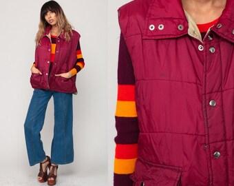 Puffer Vest Ski Vest Retro 70s Vest Burgundy Puffy Sleeveless Jacket Winter 80s Hipster Vintage 1970s  Extra Large xl