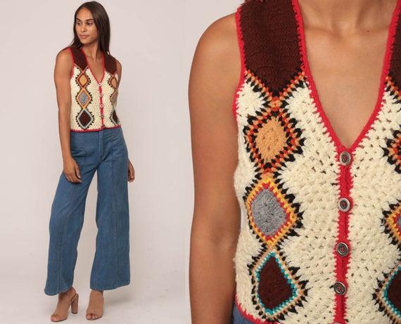 Hippie Vest Crochet Vest Knit Top 70s Tank Top Boho Cutout