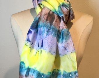 Yellow, teal and brown abstract stripe silk scarf, Shibori scarf, tie dye scarf, groovy, multicolored stripe silk crepe de chine hand painte