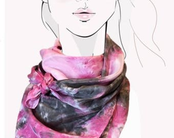 Petal pink and warm grey scarf, power scarf, tie dye shibori square silk crepe de chine hand painted scarf, pink gray head scarf