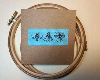 Blackwork Insects Cross Stitch Greetings or Birthday Card