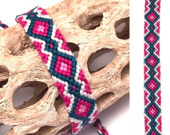 Friendship bracelet - embroidery floss - diamond pattern - handmade - macrame - woven - string - thread - blue - pink - best friend