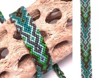 Friendship bracelet - diamond flame - embroidery floss - woven - knotted - macrame - thread - string - handmade - green - blue - gray