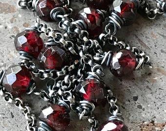 Garnet Necklace, Red Stone Necklace, Layering Necklace, Red Garnet Jewelry, Garnet Station Necklace, Oxidized Jewelry, Red Gemstone