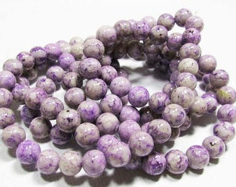 20% OFF LOOSE BEADS - Reconstituted Riverstone Beads - 6mm Rounds - Marbleized Violet Purple (20 beads) - gem819