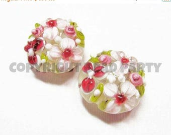 20% OFF LOOSE Beads - Lampwork Glass Art Beads - Burgundy Pink, White, and Olive Green Fancy Flower Lentils (2 beads) - gla941