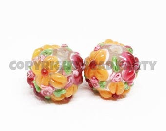 20% OFF LOOSE BEADS - Lampwork Glass Art Beads - Tangerine Orange and Raspberry Pink Fancy Flower Rounds (2 beads) - gla1152