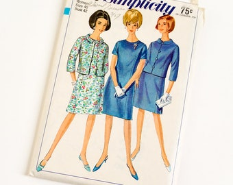 Vintage 1960s Womens Size 40 Princess Line Dress and Jacket Simplicity Sewing Pattern 6978 UNCUT / b42 w34