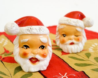 Vintage 1950s 60s Santa Head Salt and Pepper Shaker Set Japan Ceramic Winking Smiling Retro Kitsch Christmas Decor Display Collectible