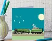 Train Card - Steam Train Card - Gift -Weimaraner Gift - Blank Card - Blank Art Card - Funny Card - Teenage Card - Railway Card