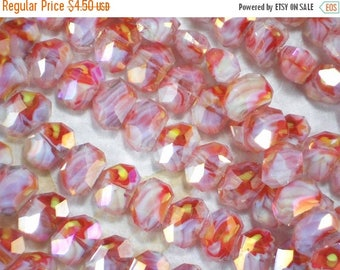 ON SALE 8 Polygon Crystal AB Beads Orange White Yellow Swirled Faceted 13 x10 mm Beads (C229 -8)