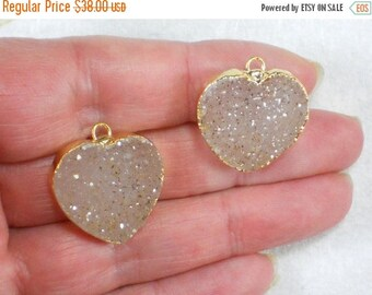 ON SALE Pair Drusy Crystals Hearts Natural Sandy Druzy Charms Pendants Quartz Gold Plated 23mm (D2550)