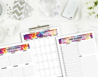 Printable Planner Kit | 2017-2018 Planner | Loose Leaf Paper | Weekly Planner Undated | Daily Planner | Digital Download Planner