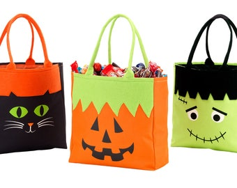 Trick-or-Treat Bag Personalized Candy Bag, Kids trick or treat bag, Pumpkin Bag, Frankenstein Bag, Black Cat Bag