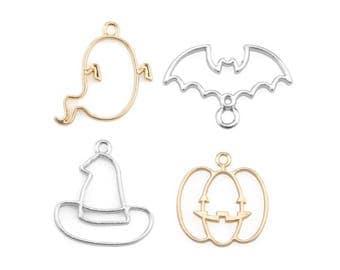 DIY 10pcs Ghost Bat Magic Hat Bezel Metal Frame Pendant Gold Charm Bezel Setting Cabochon Setting UV Resin Charm