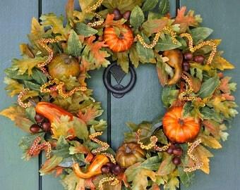 Fall Wreath, Fall Leaf Wreath, Pumpkin Wreath, Autumn Wreath, Harvest Wreath, Thanksgiving, Pumpkins, Fall Leaves, Front Door Wreath, Autumn