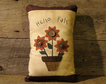 "Rustic Primitive Sunflower - ""Hello Fall"" Decorative Pillow, Primitive Fall Decor, Rustic Decor, Farmhouse Decor"