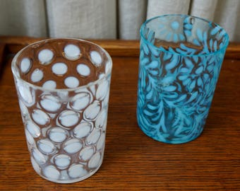 Vintage Tumblers Opalescent Coin Spot Northwood Daisy and Fern Fenton Drinking Glasses White and Blue Set of Two 1900s