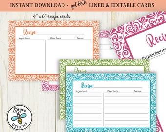 Damask Recipe Cards 4x6 both lined and editable cards No 827 instant download Damask patterned cooking baking bridal
