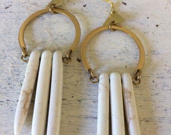 White tusk earrings