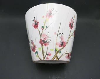 Cache pot Sakura cherry blossoms Italian pottery