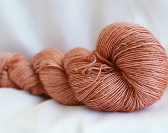 PEACH PIT -  Tonal dyed super wash merino single ply (100 grams) 400 yds