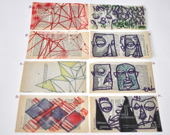 Original Drawings 4x7 geometric abstract urban art graffiti people faces Red Purple Blues Black Green Bright Colors