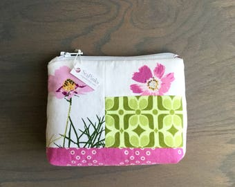 Small Coin Purse Change Purse Card Holder Pink Floral Zipper Pouch