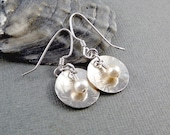 Sterling Silver Drop Earrings, Pearl Drop Earrings, Pearl Dangle Earrings, Circle Earrings, Cool Earrings, French Wire Earrings, 925 Silver
