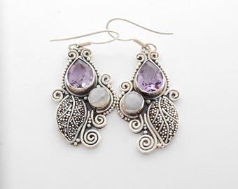 Unique Sterling Silver dangle gemstones earrings / Bali Handmade Jewelry / silver 925 / genuine amethyst & moonstone gemstone