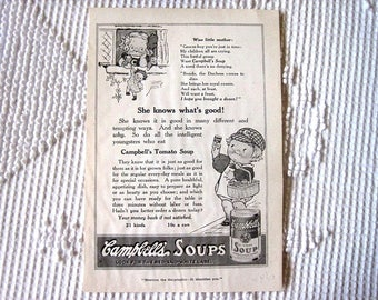 Vintage Antyique Advertisement to Frame Adorable Campbell's Soup Reverse Prudential 1914 Print