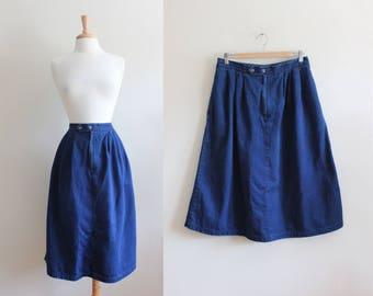 Vintage 1980s Cotton Denim Midi Skirt
