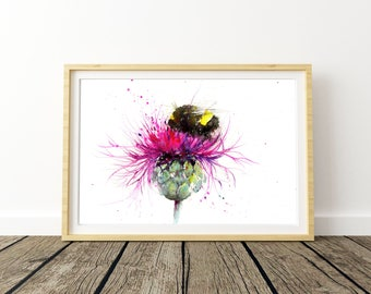 LIMITED Edition Print Of My BUMBLE BEE On A Thistle Watercolour Painting 2403 Floral Art