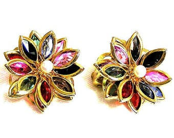 Multi Color Glass and Pearl Floral Earrings