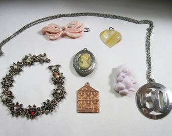 Lot of Vintage Jewelry for Repair - Re-purpose - Some Wearable - As Is
