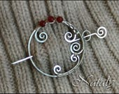 Wire Wrapped Shawl Pin, Sterling Silver Scarf Pin, Garnet Brooch, Gift for Mom, Christmas Brooch Mom, Red Wife Gift, Boho Gift Wife, Fibula