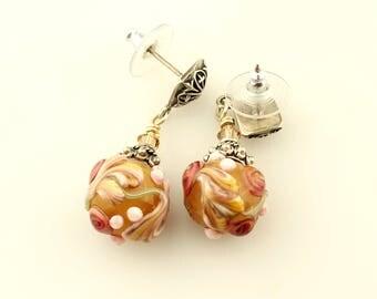 Lampwork and Sterling Silver Post Earrings, Romantic, Victorian Earrings, Flower Earrings