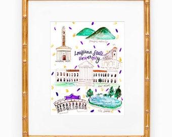 Louisiana State University Map Print