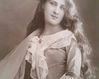 antique postcard, miss phyllis dare, english actress, vintage postcards, edwardian costume