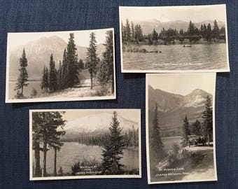 Vintage Postcards Set of 4; Jasper National Park