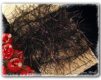Shabby Cottage French Style Lightly Wired  Black Tinsel Garland Fluff